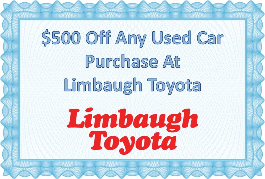 Exclusive Online Coupon – $500 Off Any of our Used Cars at Limbaugh