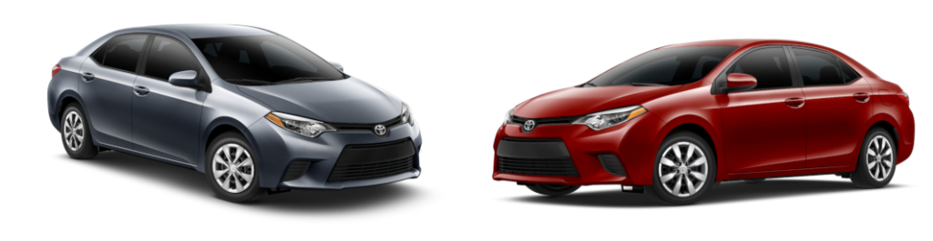 Toyota Corolla L (on Left) vs Toyota Corolla LE (on right)