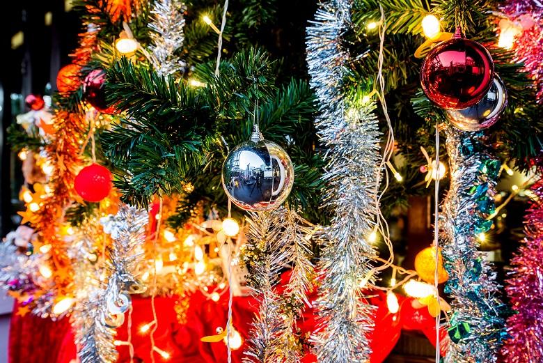 lighting decoration on Christmas tree