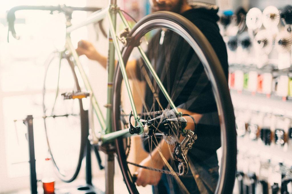 Bike being serviced