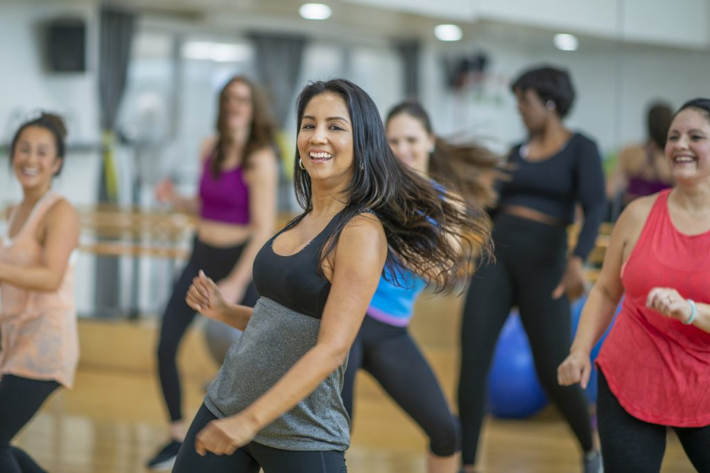 Women dancing in a fitness studio