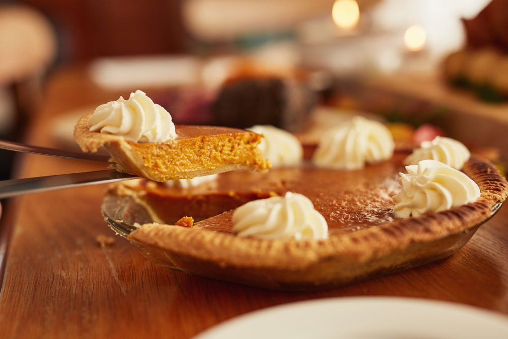 A delicious looking pumpkin pie.